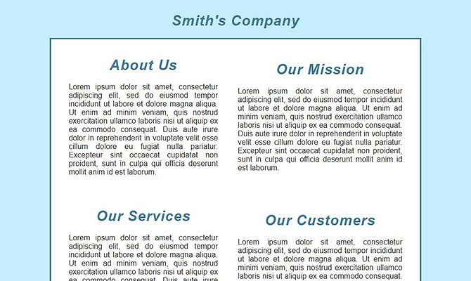 Website Templates - Business Home Page