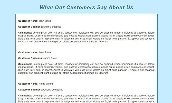 Website Templates - Business Review Page