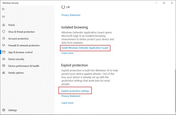 التحكم في إعدادات التطبيق والمستعرض في Windows Defender