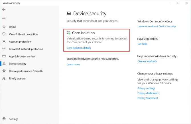 ميزة العزل الأساسية في Windows Defender