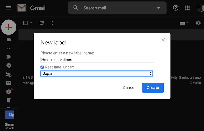 Create labels on Gmail