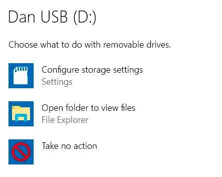 tùy chọn mặc định usb windows 10