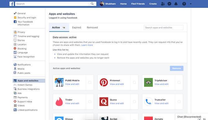 Facebook third-party app access settings
