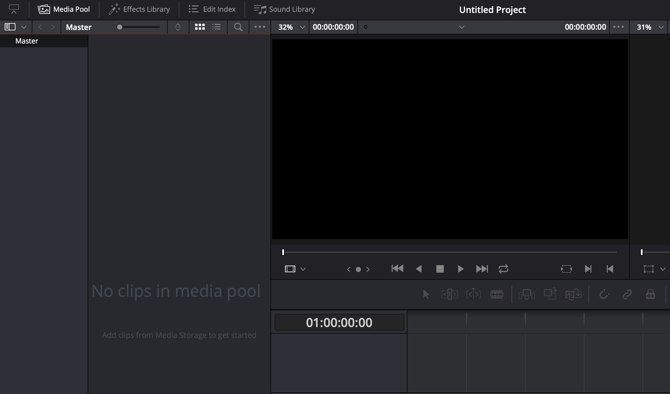 HitFilm Express vs. DaVinci Resolve - DaVinci Resolve main window