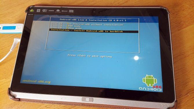 Установите Android на планшет Windows