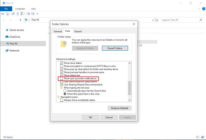 ايقاف تشغيل ملف مستكشف الملفات