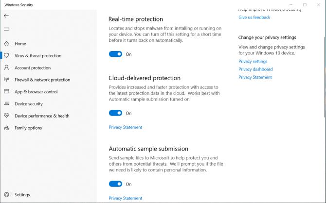 الحماية من الفيروسات والتهديدات في Windows Defender