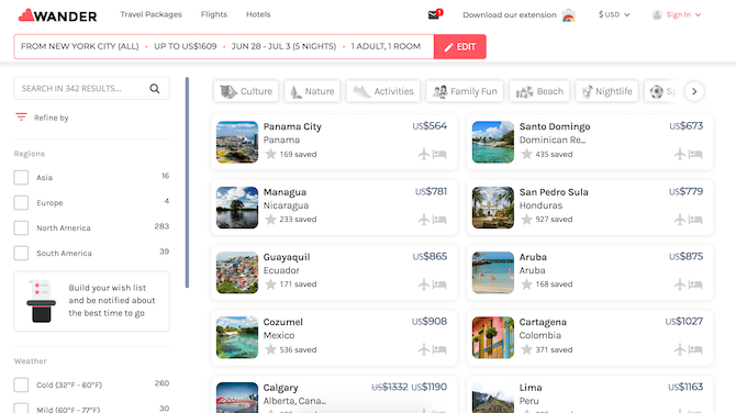 Find travel destinations by your budget with Wander