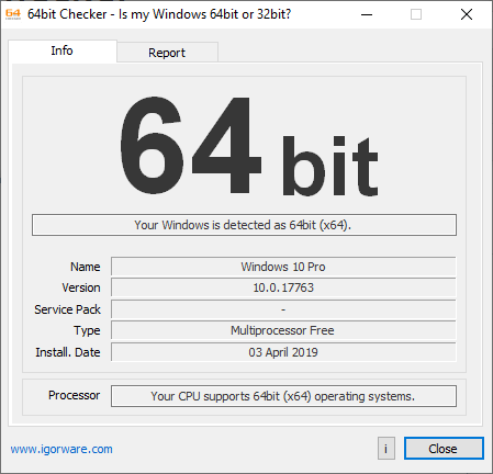 windows 64 bit system checker