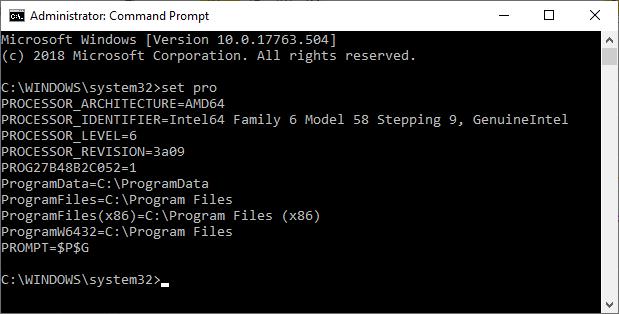 windows command set pro processor info