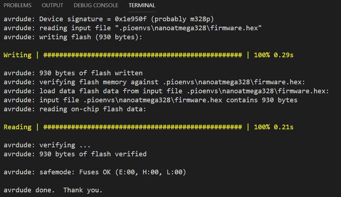 Platform IO upload output