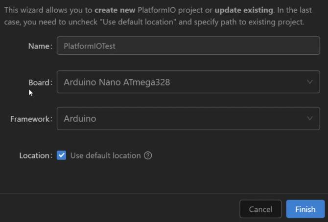 PlatformIO new project window