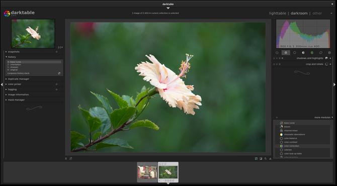 Darktable photo management app