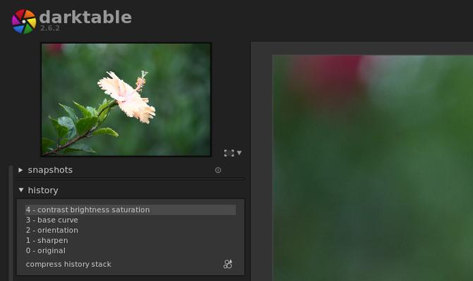 Darktable displaying an image's history of edits