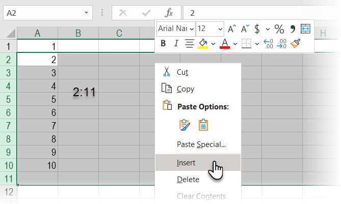 Use Excel's Name Box to insert blank rows