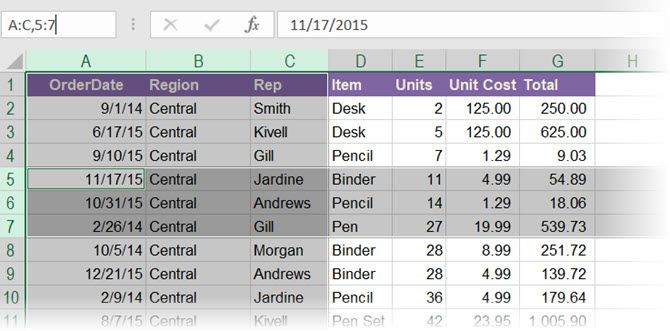 Use Excel's Name Box to select multiple rows and columns