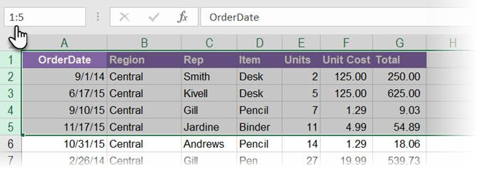 Use the Excel Name Box to select two or more rows