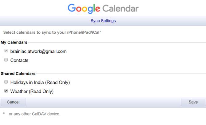 Google Calendar Sync Page