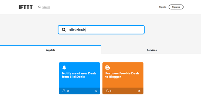 IFTTT Applet Search Page Results for SlickDeals