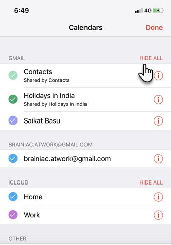 Hide the Google Calendars on iPhone