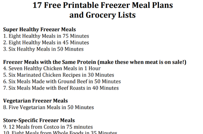 Family Freezer has 17 free printable meal plans that you can freeze in advance