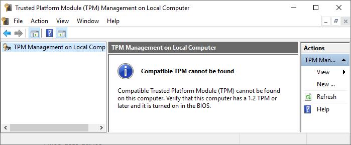 bitlocker compatible tpm not found