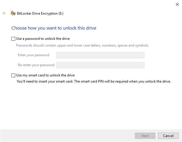 bitlocker set password