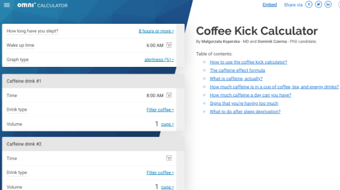 Coffee Kick by Omnicalculator tells you when you'll be most alert based on coffee intake and sleep schedule