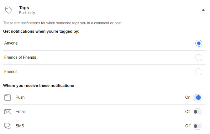 facebook turn off notification by category tags section