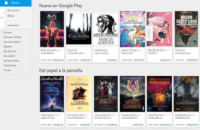 google play books homepage