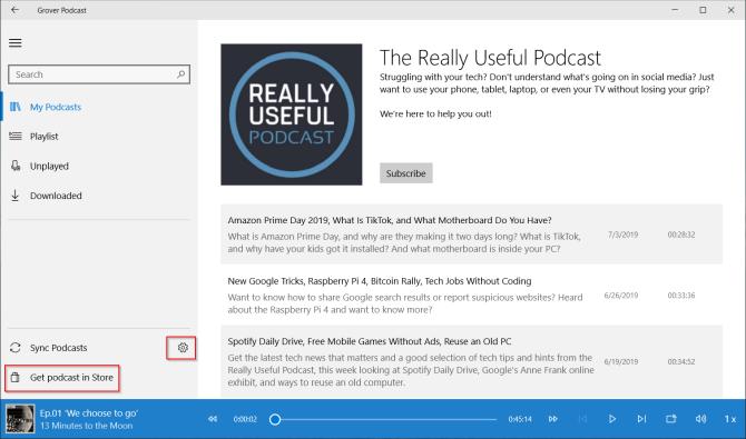 Grover podcast app for windows