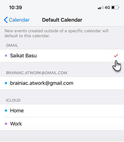 Set default Google Calendar in iPhone for sync