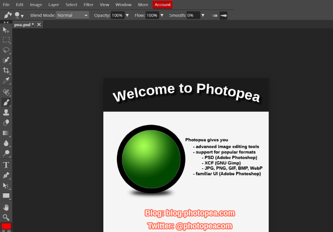 Use Photopea as an alternative to Photoshop on Linux