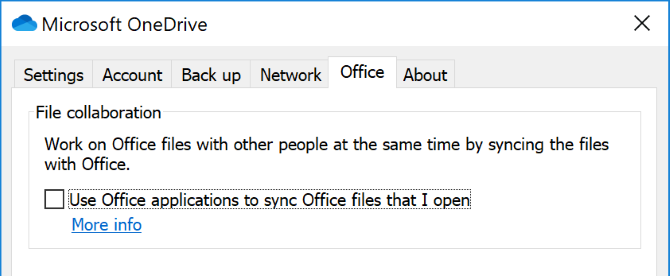 Office sync setting in OneDrive
