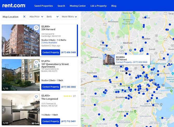 rent.com map for apartment rentals