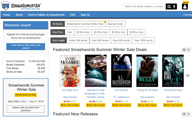 smashwords homepage