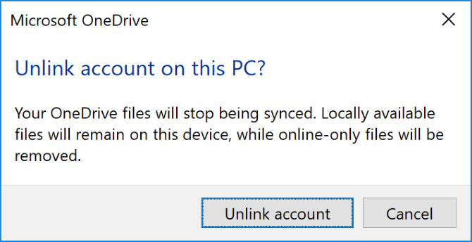 Unlink OneDrive account from PC
