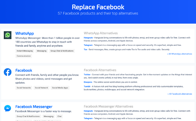 Replace Facebook by SaaSHub has alternatives for every Facebook app and service