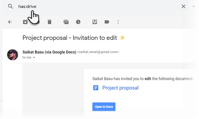 """Use the """"has:drive"""" filter to search for Gmail attachments"""