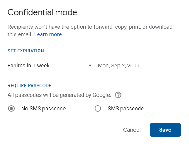 Gmail's Confidential Mode