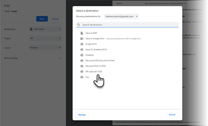 Gmail Print Dialog