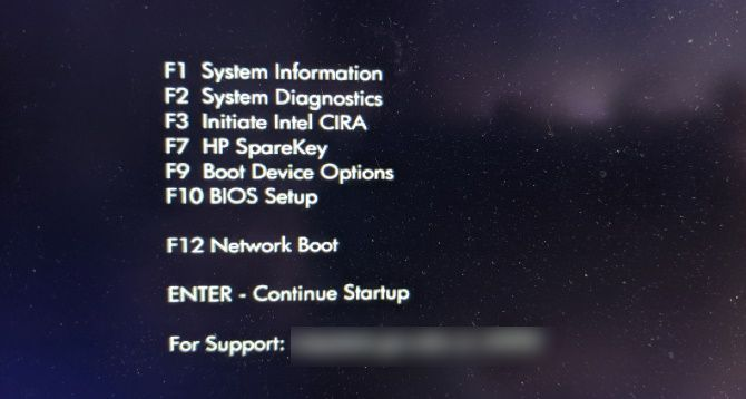 HP Laptop Boot Menu