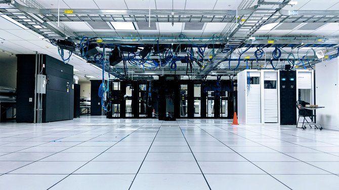A datacenter room with server racks
