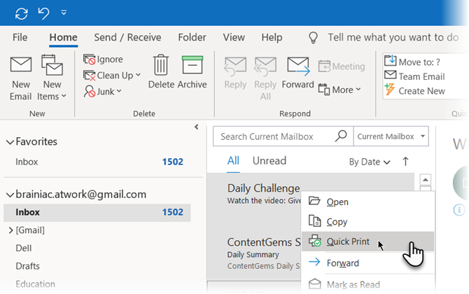 Right click and choose Quick Print from the menu in Microsoft Outlook