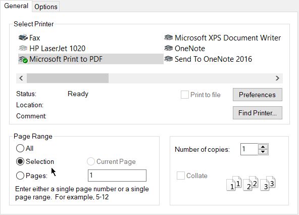 Print a selection from an email in Microsoft Outlook