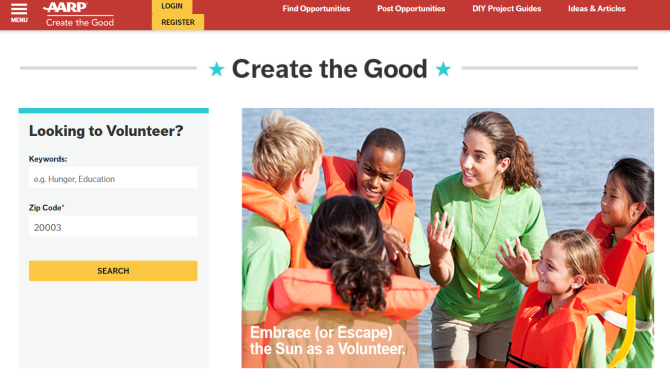 AARP Create the Good Volunteer Website