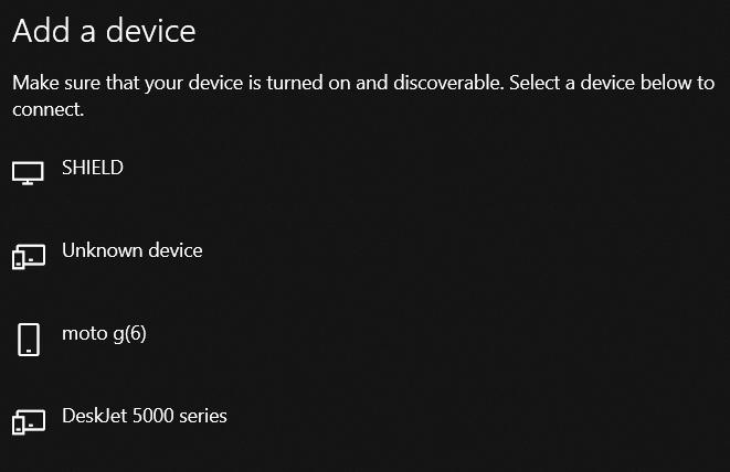 turn on bluetooth windows 10 settings menu