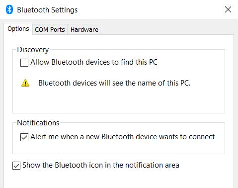 bluetooth settings windows 10