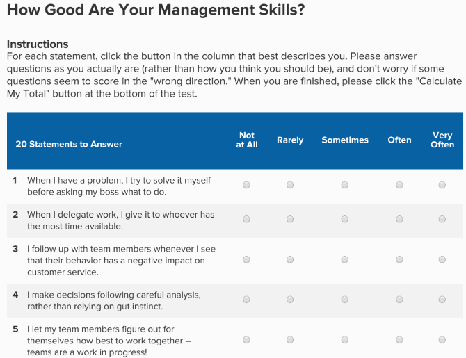 Find your management style and improve your management, leadership, and people skills at Mind Tools
