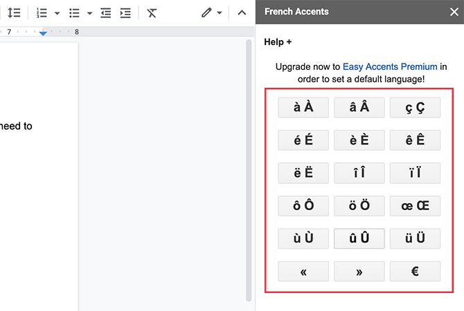 Insert accented characters into your Google Doc with Easy Accents